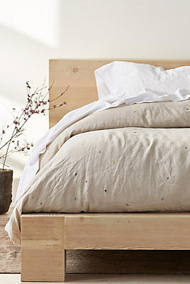 Slide View: 3: Coyuchi Scattered Embroidered Linen Duvet