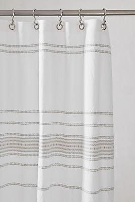 Slide View: 1: Coyuchi Rippled Stripe Organic Shower Curtain