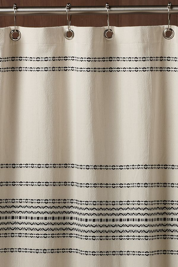Slide View: 1: Coyuchi Rippled Stripe Organic Shower Curtain
