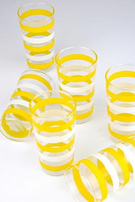 Slide View: 1: Patina Vie Vintage Stripe Tumbler Glasses, Set of 6