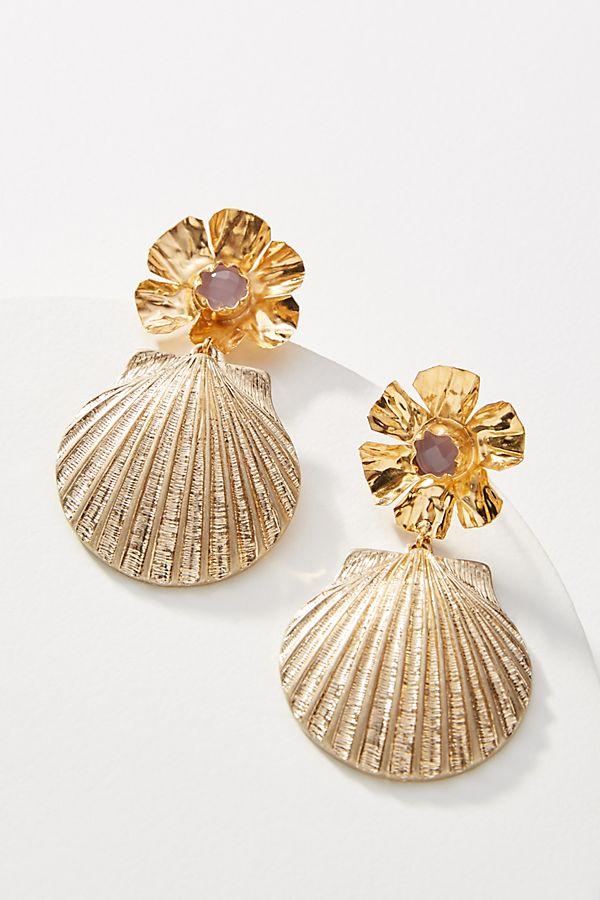 Slide View: 1: Nicola Bathie Jewelry Shell Drop Earrings