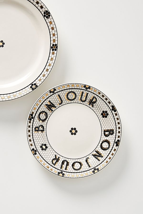 French Cafe Bistro Tile Bonjour Plates Home Anthropologie