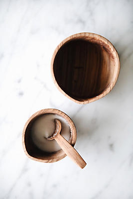 Slide View: 2: Connected Goods Wild Olive Wood Cream & Sugar Set