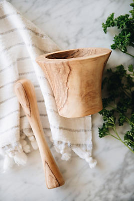 Slide View: 3: Connected Goods Wild Olive Wood Pestle and Mortar