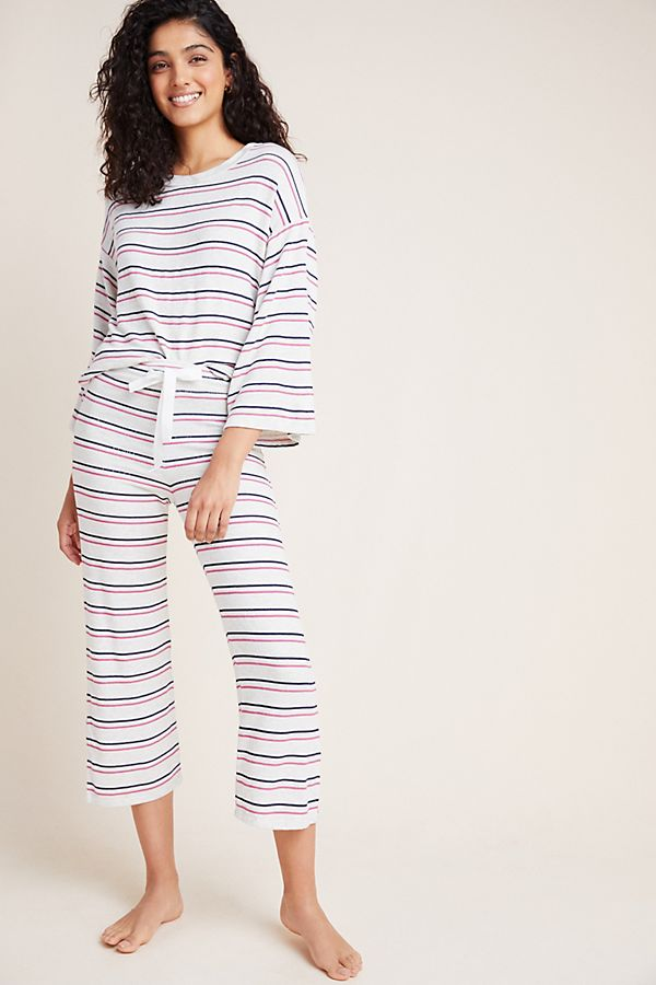 Slide View: 1: Sundry Striped Hacci Wide-Leg Pants