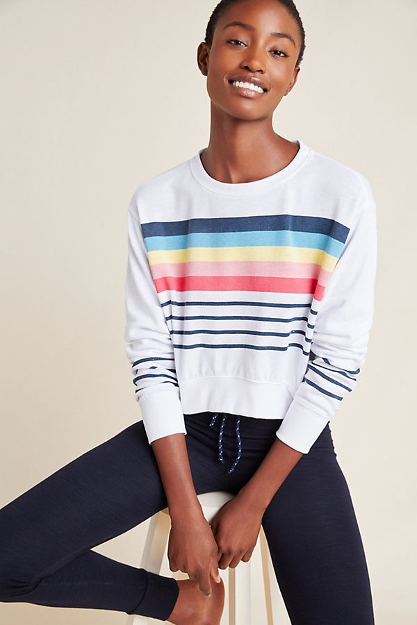 Slide View: 1: Sundry Striped Cropped Sweatshirt