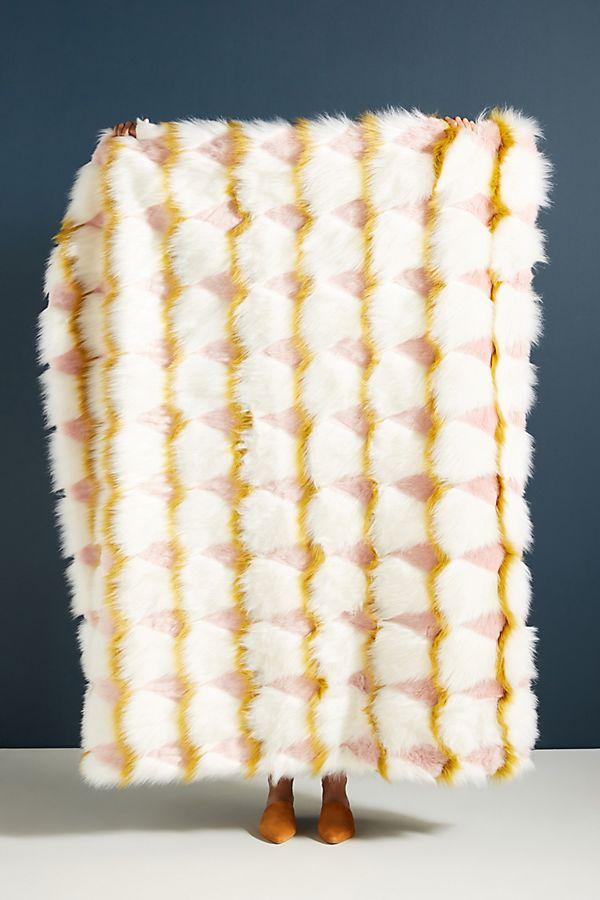 Slide View: 1: Coren Faux Fur Throw Blanket