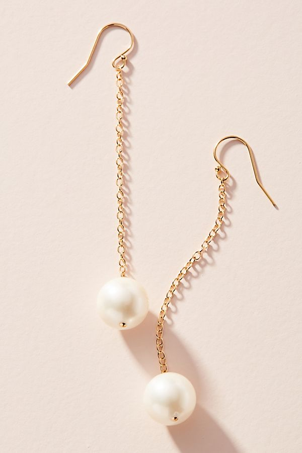 Pearl Chain Drop Earrings by Victoria Six