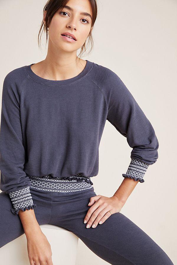 Slide View: 1: Monrow Smocked Raglan Sweatshirt