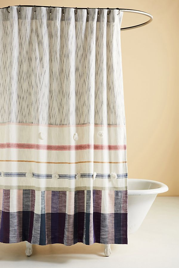 Slide View: 1: Woven Isla Shower Curtain