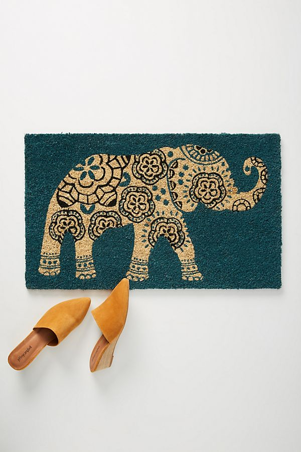 Slide View: 1: Floral Elephant Doormat