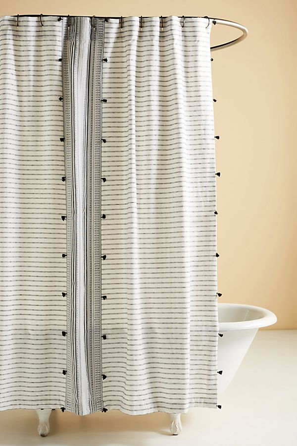 Slide View: 1: Tasseled Pendana Shower Curtain