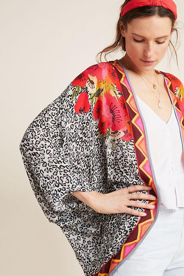 Slide View: 1: Frances Floral Cocoon Kimono