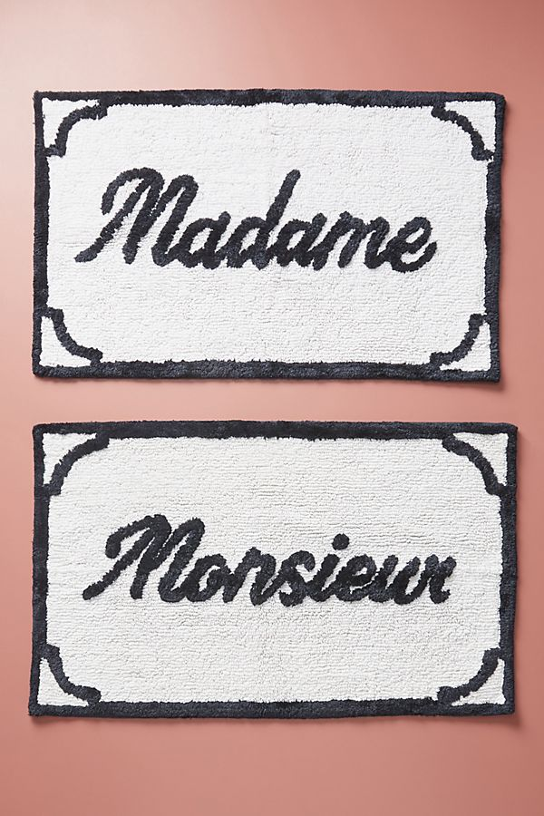 Slide View: 1: Monsieur & Madame Bath Mats, Set of 2