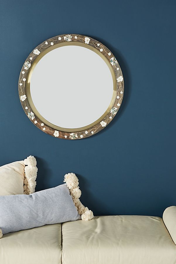 Slide View: 1: Abigail Floral Inlay Mirror