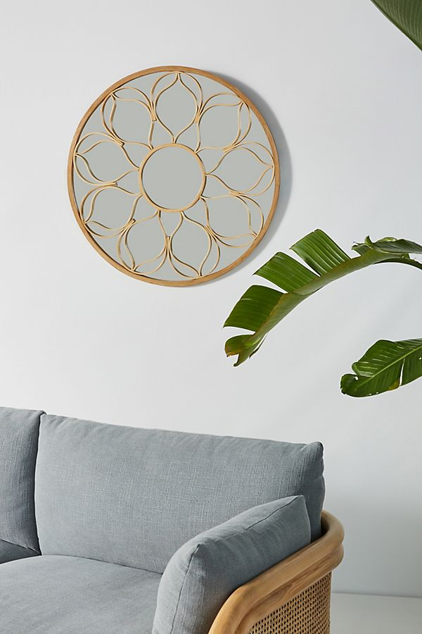 Slide View: 1: Wildflower Rattan Mirror