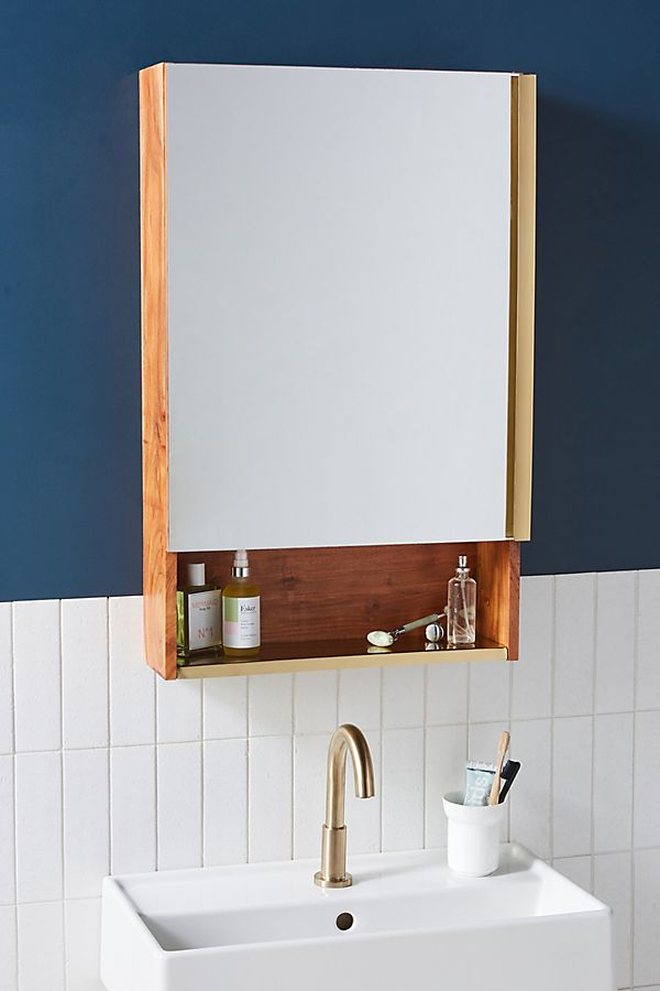 Slide View: 1: Erma Teak Mirrored Bath Cabinet