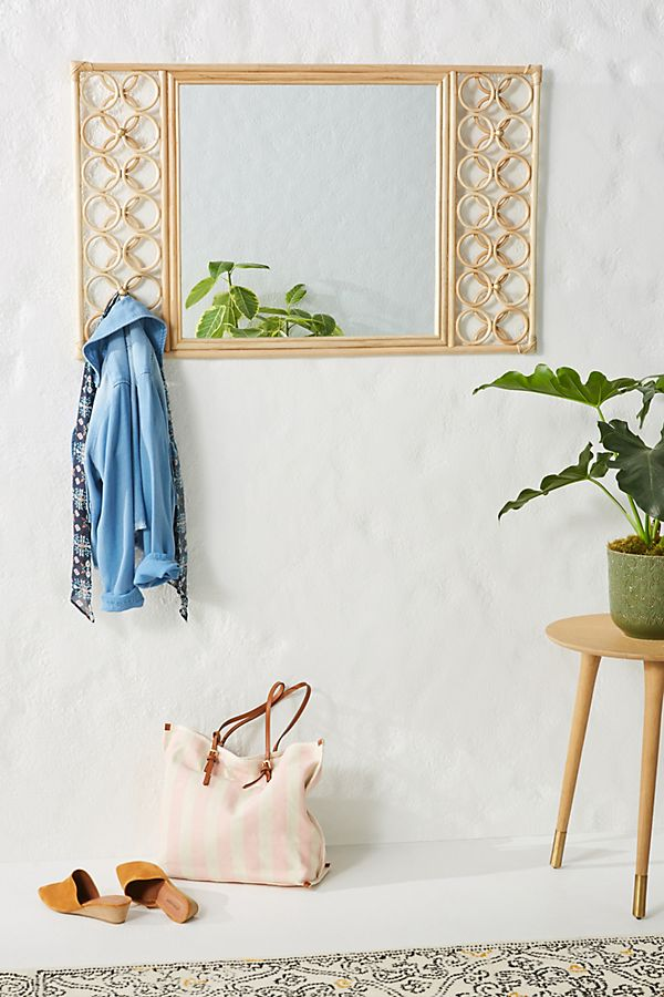 Slide View: 1: Lattice Rattan Mirror