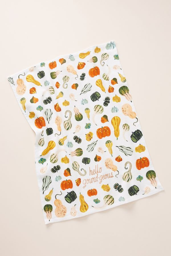 Quill & Fox Hello Gourd-Geous Dish Towel. Come explore Adorable Fall Finds, Sacred in the Everyday, Inspirational Quotes as well as Autumn Decor's Cozy Warmth.