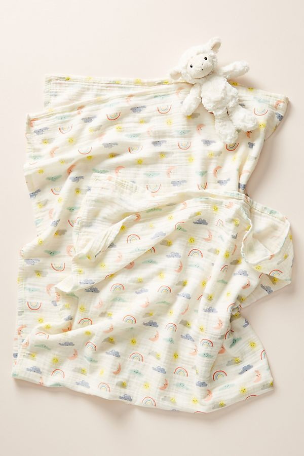 Slide View: 1: Meri Meri Sunshine Rainbow Swaddle Blanket