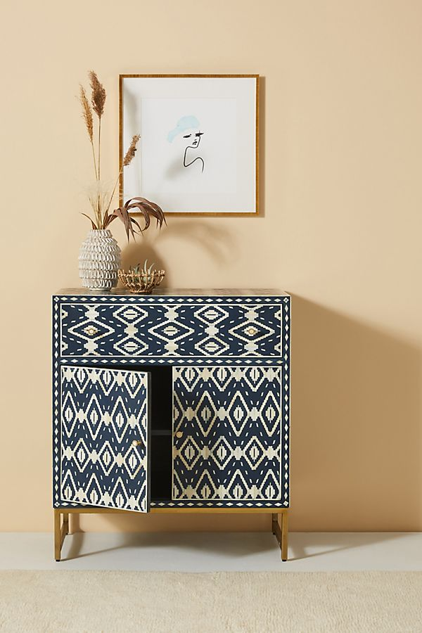 Slide View: 1: Ikat Inlay Entryway Cabinet
