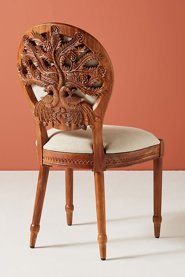 Slide View: 1: Carved Peacock Dining Chair