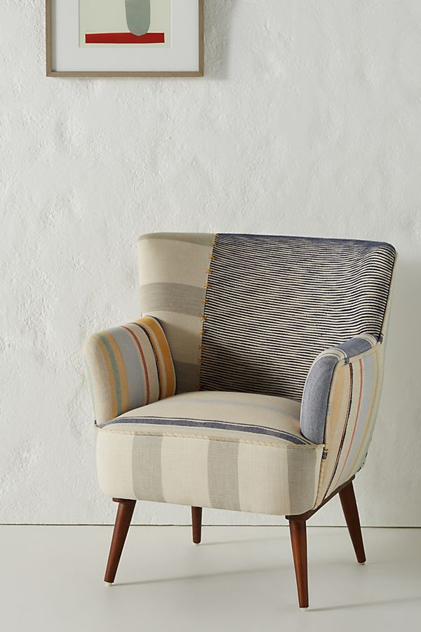 Slide View: 1: Striped Petite Accent Chair