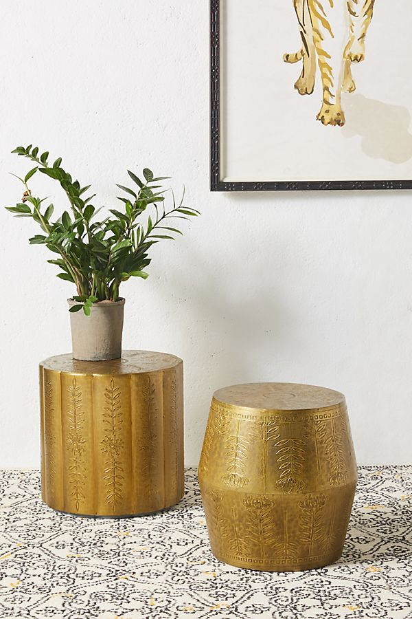 Slide View: 2: Embossed Scalloped Side Table