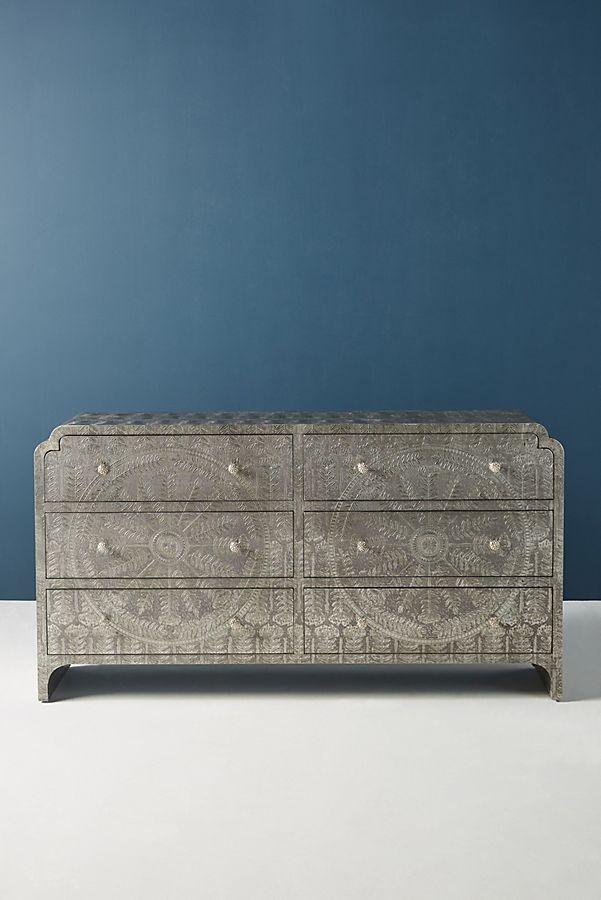 Slide View: 2: Hand-Embossed Lotus Six-Drawer Dresser
