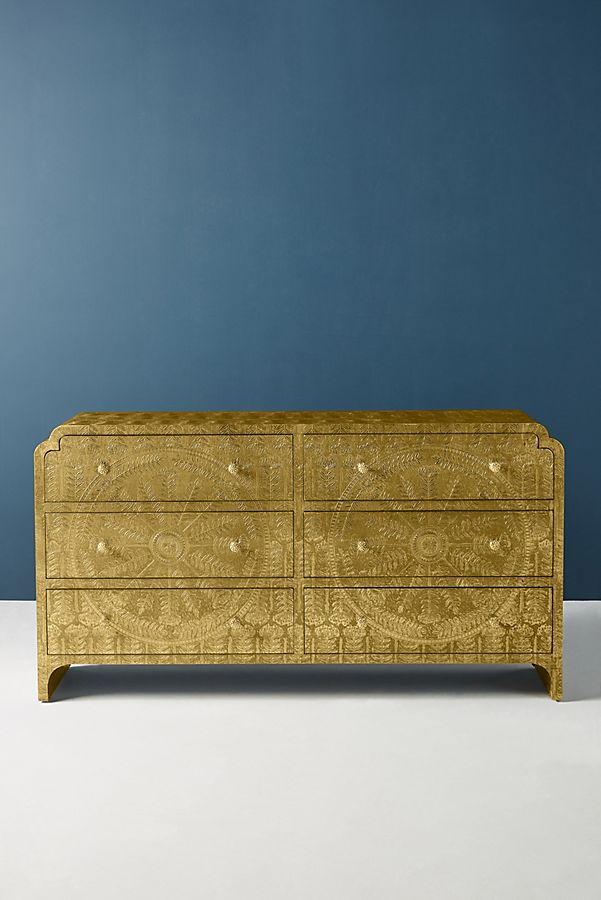 Slide View: 2: Hand-Embossed Lotus Six-Drawer Dresser
