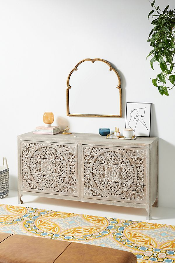 Slide View: 1: Handcarved Lombok Six-Drawer Dresser