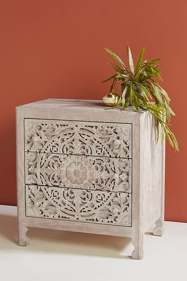 Slide View: 1: Handcarved Lombok Nightstand