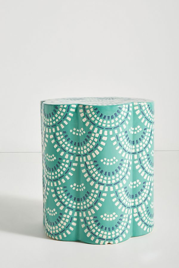 Slide View: 1: Scalloped Ceramic Side Table