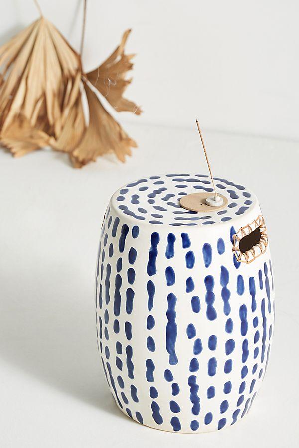 Slide View: 1: Indigo-Striped Ceramic Stool
