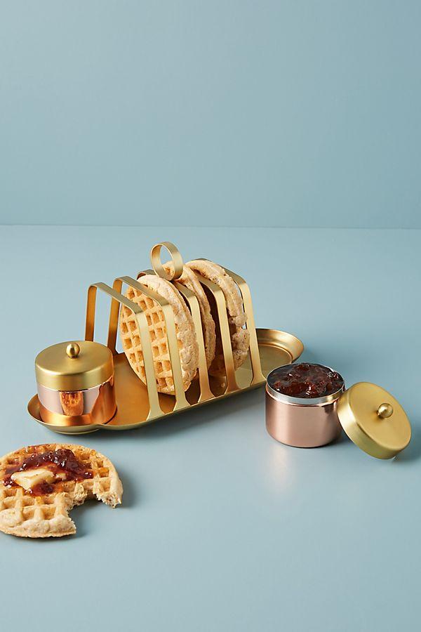 Slide View: 1: Evie Toast Rack + Jam Jar Set