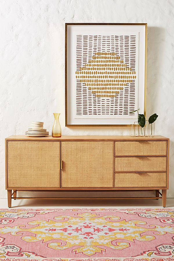Slide View: 1: Wallace Cane and Oak Sideboard