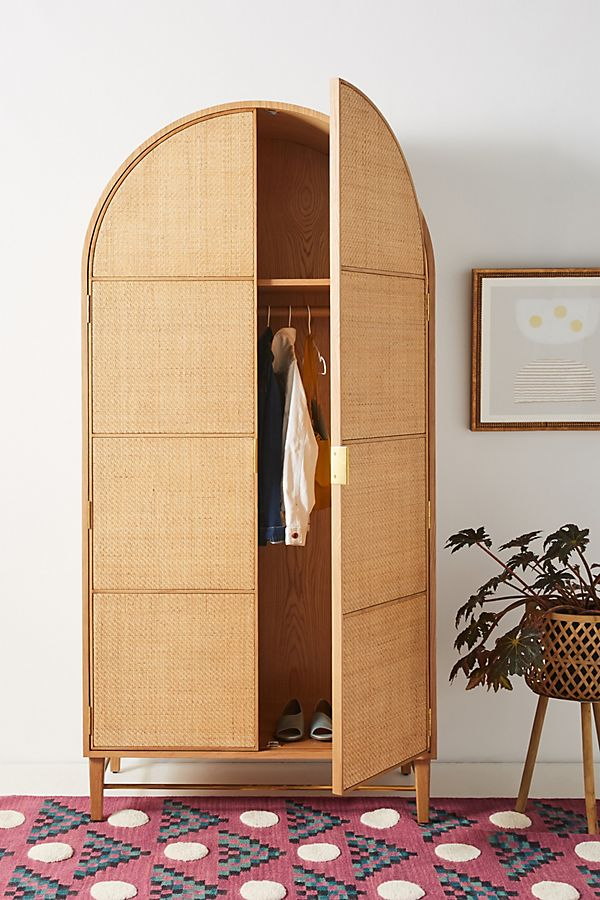 Slide View: 1: Wallace Cane and Oak Armoire