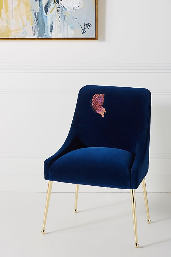 Slide View: 1: Embellished Velvet Elowen Chair