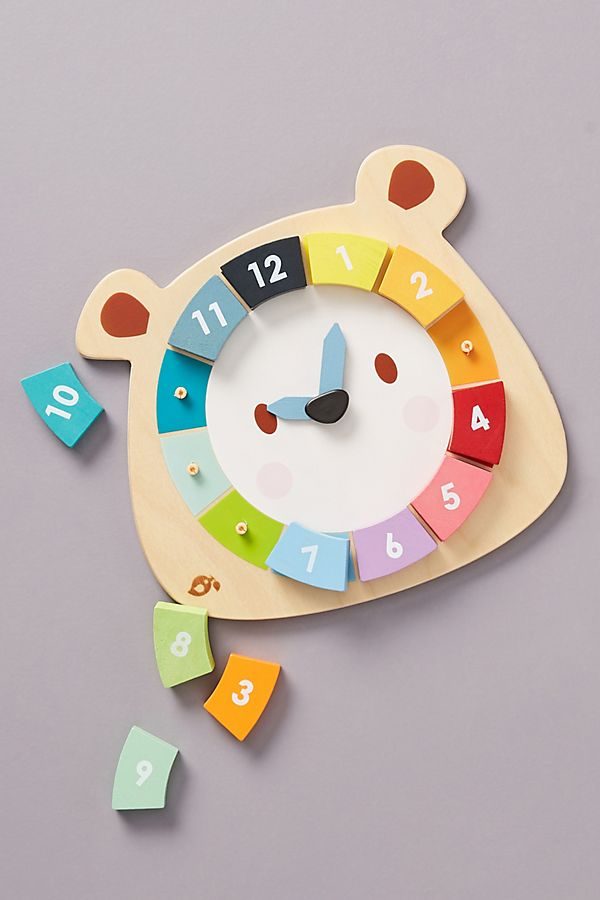 Slide View: 1: Colorful Bear Clock Toy Set