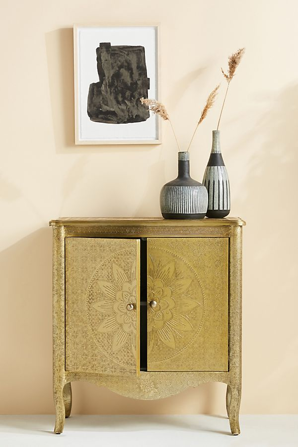 Slide View: 1: Hand-Embossed Lotus Entryway Cabinet