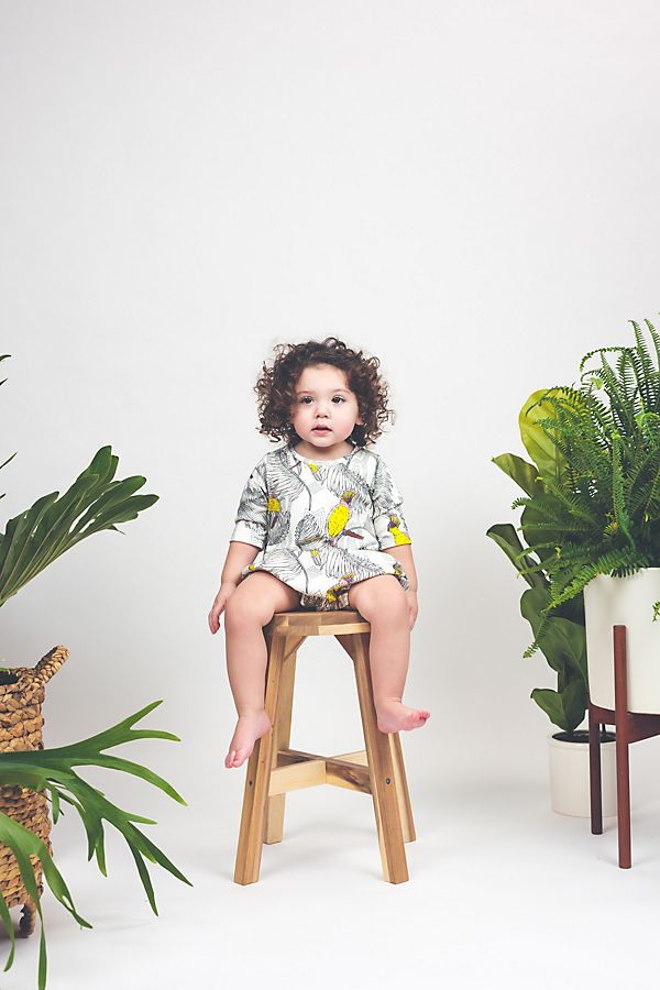 Slide View: 3: Lola & Stella Sleeved Bubble Romper