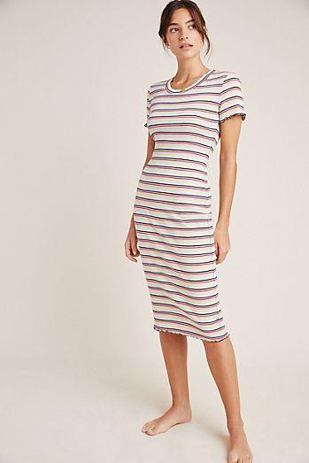 5459fc608bd550 Sundry Striped Midi Tee Dress