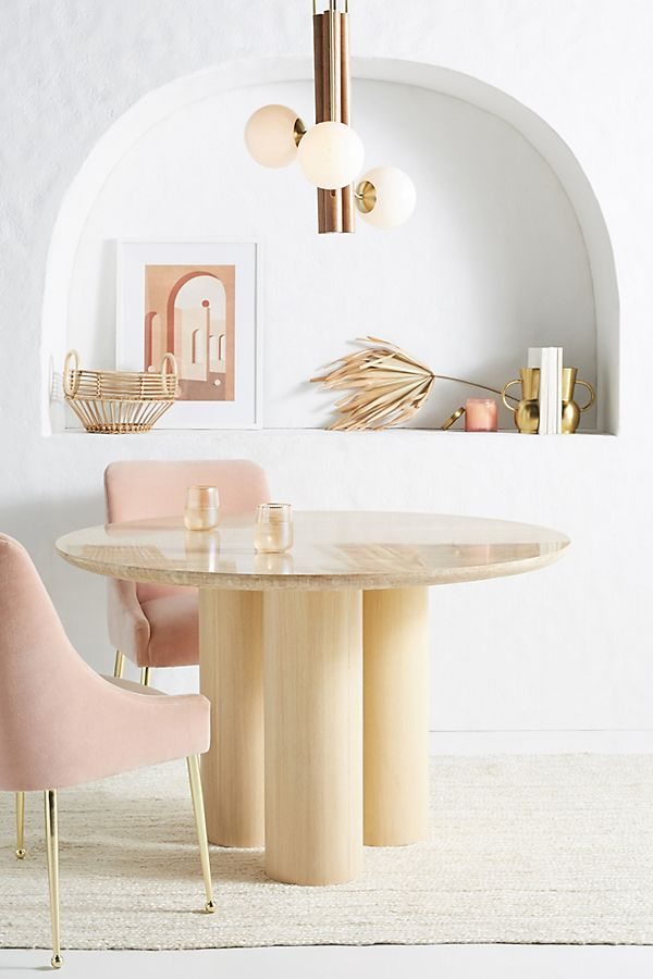 Slide View: 1: Anya Travertine Dining Table