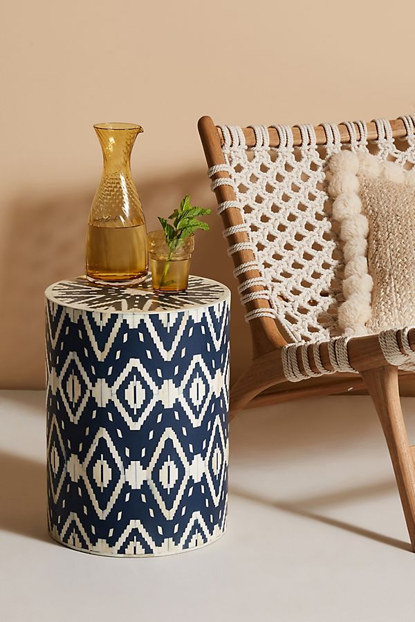 Slide View: 1: Ikat Inlay Petite Drum Side Table