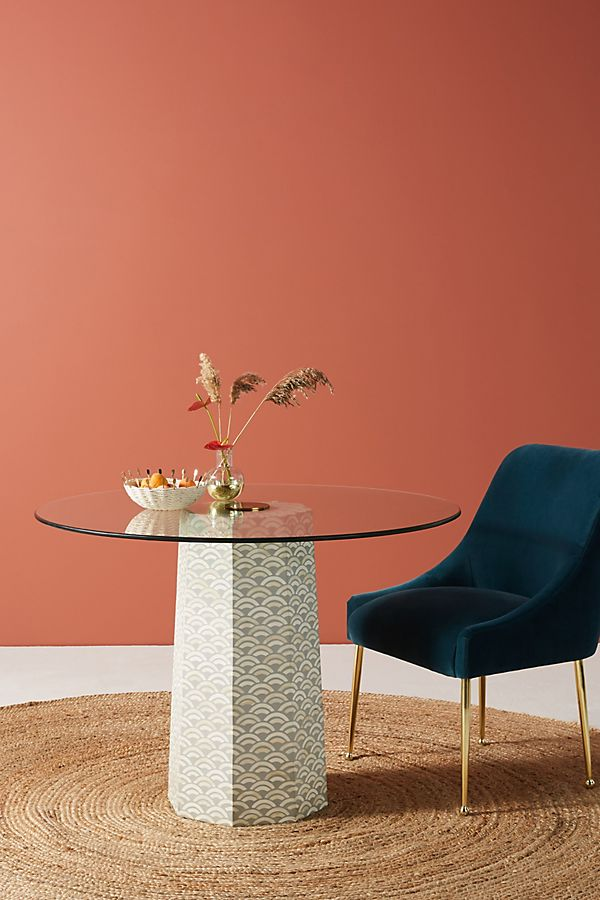 Slide View: 1: Scalloped Inlay Dining Table