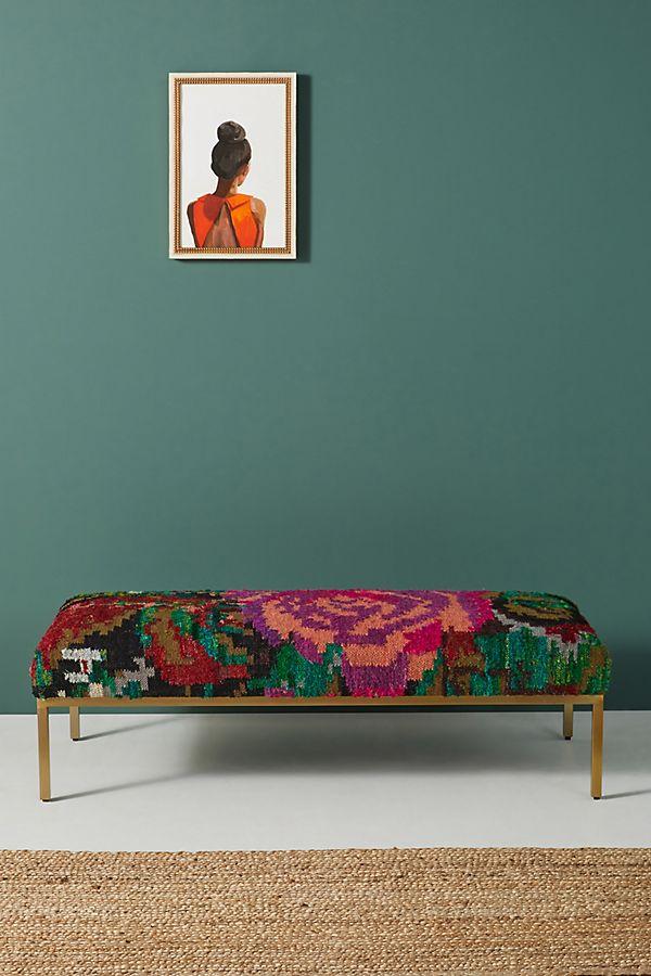 Slide View: 1: Roses Silk Carpet Ottoman
