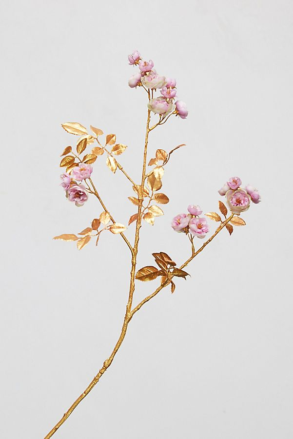 Gilded Faux Rose Bud Stem by Anthropologie