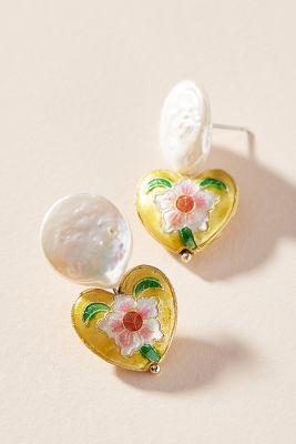 Treasured Heart Drop Earrings by Anthropologie