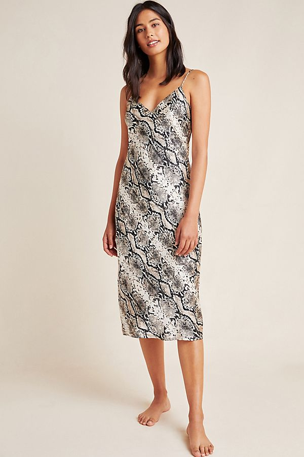 Slide View: 1: Raven Snake-Printed Silk Dress