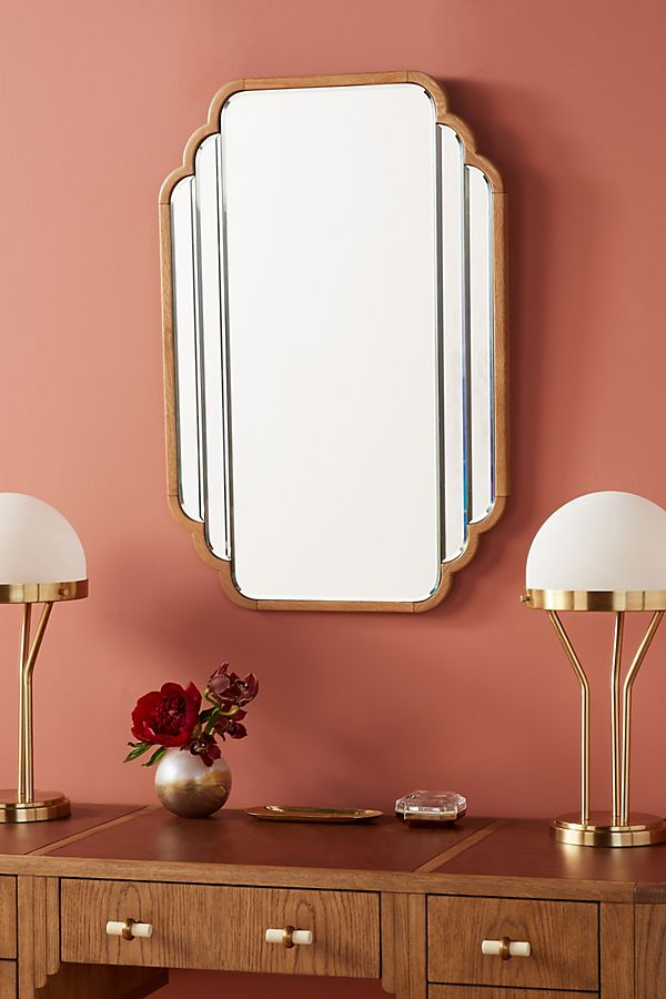 Slide View: 1: Soho Home x Anthropologie Oak Deco Mirror